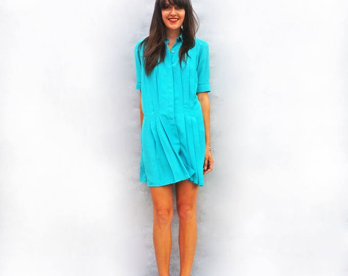 Blue Oversized Dress, Vintage Boho Dress, Pleated Dress, Short Sleeve Tunic Dress, 70s Bohemian Dress, Shirt Dress, Knee Length Dress Fun