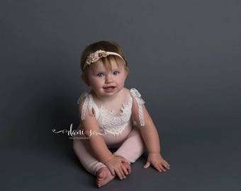 6-9 Months Baby Romper, Sitter Outfit, Baby Props, Photo Props, Sitter Romper, 6 Month Photo Outfit Girl, 9 Month Girl Clothes, Lace Romper