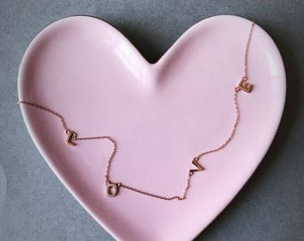 Rose Gold - L O V  E - Necklace - Rose Gold plated over Sterling Silver