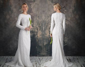 Long Sleave Lace Form-Fitting Wedding Dresses