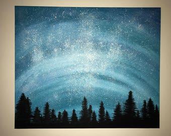 Blue starry night acrylic painting