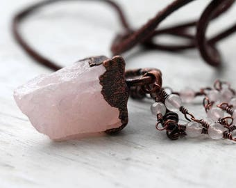 Rose Quartz Necklace Electroformed Crystal Rosary Chain Pink Crystal Modern Suede Necklace Large Gemstone Long Chain