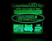 CUSTOM RGB Acrylic Leds Sign Engraved Desk Sign Neon Like Sign Color Changing Remote Control 3 sizes 6x6/8x8/12x12 3 day Shipping