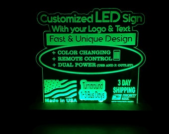 CUSTOM RGB Custom Acrylic Leds Sign Engraved Desk Sign Neon Light Sign Color Changing Remote Control 3 sizes 6x6/8x8/12x12 3 day Shipping
