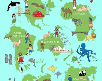 World Map Fabric Windham. One World Fabric  Continents of the Kids We Share by Whistler Studio for Windham 42714 SuperSize Panel 47 x70 Children