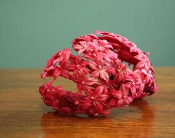 Bright Pink Vintage Flower Fascinator [Retro Women's Dress Up Hair Hat Fuschia Hair Bow Clip in Flapper 1950s Fifites]