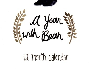 A Year With Bear- 12 Month Calendar Birthday Calendar Record Book