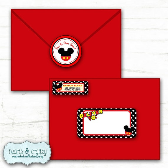 mickey mouse party address labels and envelope seal stickers