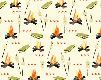 Camping Fabric by the Yard Childrens Fabric Cotton Fabric Nursery Fabric Woodland Mountains Campfire Smores Quilting Fabric 4038310