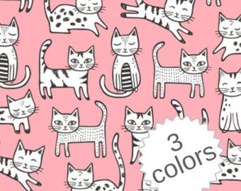 Kittens Fabric by the Yard Girl Fabric Quilting Fabric Organic Cotton Minky Knit Cats Nursery Childrens Baby Girl Fabric