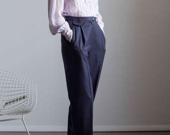 Perfect High Waisted Ralph Lauren Navy Pinstripe Trousers 1990s Vintage // Size Small Medium