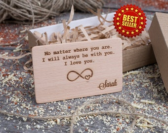 Wood Wallet Insert Card, Beech Custom Engraved Insert card, Personalized Wooden business card, boyfriend gift, wood wedding tag