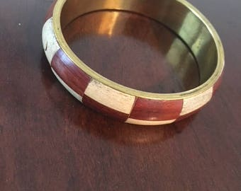 Vintage Wood Inlaid Indian Bracelet
