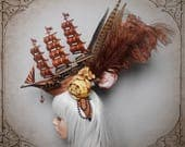 Steampunk Ship Headdress ( Fascinator, Goth, Baroque, Rococo, Marie Antoinette...)