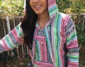 Mexican Hoodie,Baja hoodie,M,Medium,Peppermint, Pink,green