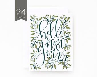 New Years Card Set of 24 | Hand Illustrated Botanical New Years Cards with Hand Lettered Calligraphy : Hello New Year Card