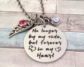 No Longer by my Side - But Forever in my Heart Engraved Pet Loss Necklace with Pets Name on the Back - Comes with a Wing - Heart & Crystal