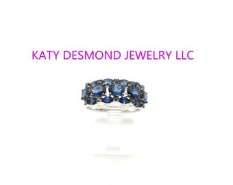 Sapphires & Diamonds 18K White Gold Ring/Graduation/Engagement /Wedding Ring/ Everyday/ Anniversary Ring/Birthday Ring#021898