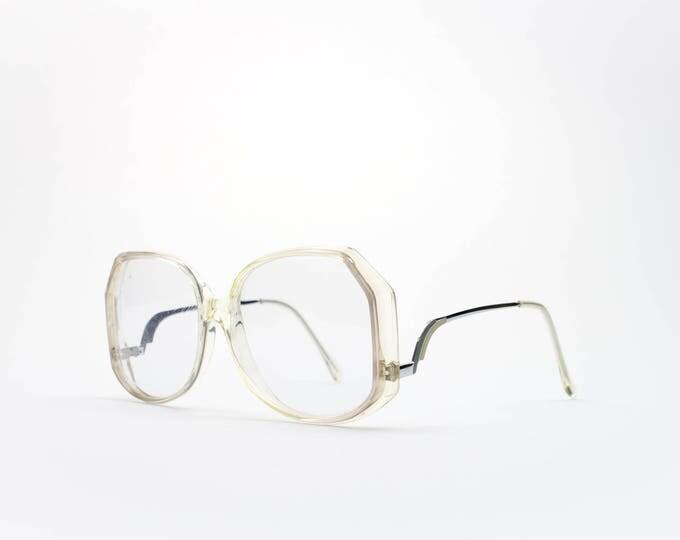 Vintage 1970s Eyeglass Frame | 70s Oversized Clear Glasses | Unique Faceted Design
