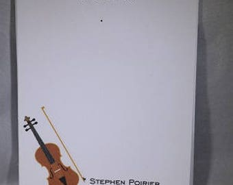 Violin Notepad, Music teacher Notepad, Violin Gift