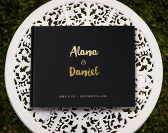 Black and Gold Wedding Guest Book, Real Gold Foil Guest Book Wedding, Gold Guest Book, Black Wedding Guest Book, SKU: GB 064