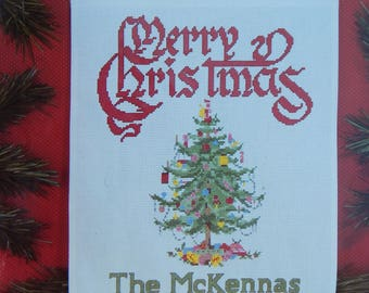 JANLYNN Christmas Cross Stitch Christmas Tree Banner Kit 1991 ~ Merry Christmas, Personalize w/ Your Name ~ Fabric, Cotton Floss, Graph