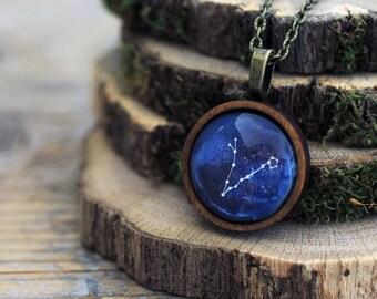 Pisces Necklace, Pisces Constellation, Zodiac Necklace, Pisces Zodiac Pendant, Constellation Necklace, Wooden Necklace, Space Necklace