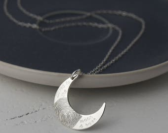 Silver Loved to the Moon and Back Fingerprint Necklace | Personalised Gift for Her | Fingerprint Jewellery | Moons & Stars | Hold upon Heart