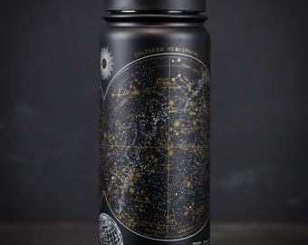 Astronomy Star Chart Stainless Steel Vacuum Flask | Travel Mug Thermos Water Bottle Night Sky Map Constellation Celestial Map Space science