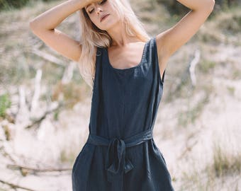 Linen jumpsuit / Loose linen Jumpsuit / Linen overall / Linen women romper / Linen clothes / Graphite grey jumpsuit / EVELYN #33