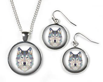 WOLF - Set: Pendant, Chain & Earrings - Glass Picture Jewellery - Silver Plated