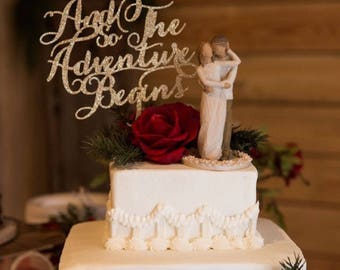 And So The Adventure Begins Wedding Cake Topper, Fall Wedding Cakes, Wedding Cake, Glitter cake topper, Script Cake Topper, Word Cake Topper