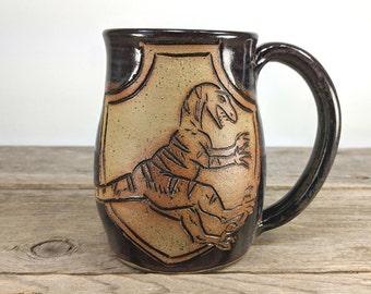 Velociraptor Crest Mug 16 oz - Velociraptor Mug - Dinosaur Mugs - Bookworm Gift Ideas - Bookish Mugs - Book Lover Gift - Jurassic - Raptor