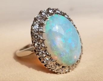 14 K white gold opal and diamond ring