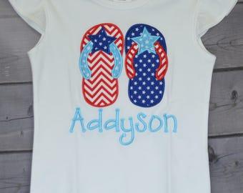 Personalized 4th of July Patriotic Flip Flops Star Flag Applique Shirt or Onesie Girl Boy