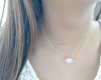 rainbow moonstone necklace 14k gold filled moonstone Jewelry moonstone connector necklace June Birthstone boho necklace beach wedding gift