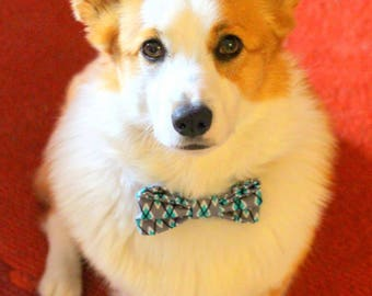 """Dog bowtie with teal and gray argyle print fabric 4""""x 2"""""""