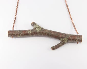 Natural Latvian Birch Wood Pendant with Copper chain. Eco friendly. Handmade in Latvia for nature lovers