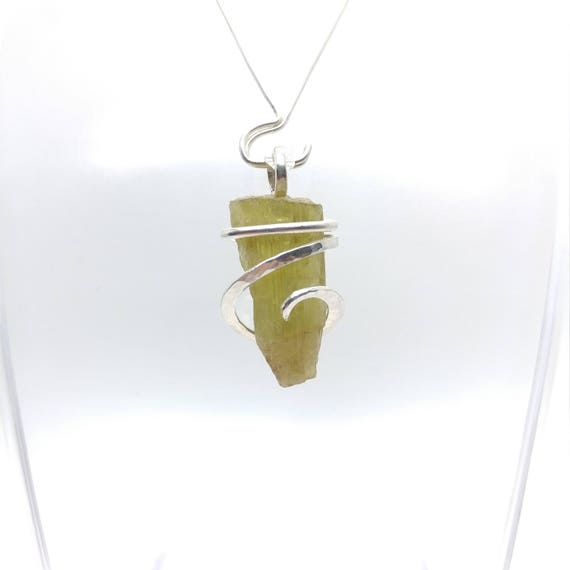 Raw Stone Pendant | Heliodor Necklace | Uncut Stone Jewelry | Silver Pendant | Heliodor Jewelry | Yellow Golden Beryl | Heliodor Pendant