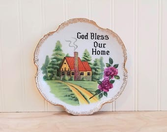 Vintage Novelty Plate God Bless Our Home Plate Cottage Decor Cottage Chic Decor God Bless Our House Country Chic Decor Farmhouse Decor