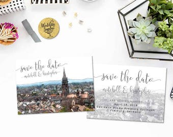 Digital Printable Set Save the Date Postcard Destination Wedding Freiburg Germany Europe Watercolor Wedding Invitation Map Card ID853