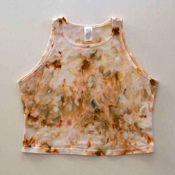 XL Beige Watercolor High Neck Crop Top