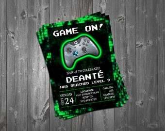 Video Game Truck Party Invitation; Video Game Invitation; Video Game Birthday Invitations; Gamer Birthday Invitations; Video Game Party