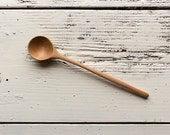 Wooden cooking, tasting, serving and tall jar spoon handmade in Vermont cherry with deep round bowl and long handle