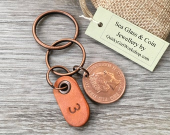 3rd Anniversary Gift 2015 Coin Keyring Keychain Leather Wedding Present Him