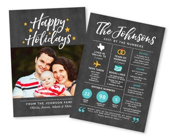 Year In Review Christmas Card, Holiday Card, Year In Review Card, Photo Christmas Card Printable, Family Newsletter Infographic, Photo Card