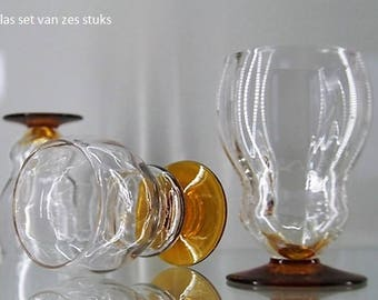 Liqueur glass set of six pieces optical blown.