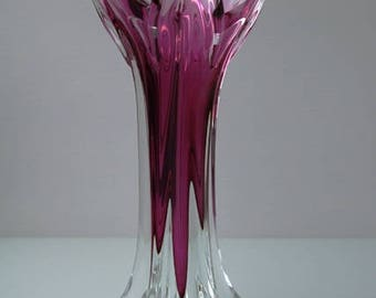 Vintage Vase of pink crystal-glass, origin Czech Bohemia Chribska factory.