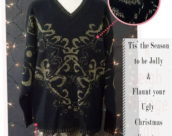 Ugly Christmas Sweater, Black Gold Glam Sweater, 80s Party Sweater, New Years Eve Sweater, Size Large Black Knit Sweater, Metallic Sweater
