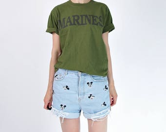 Vintage Marines army forest green t-shirt / size S-M-L